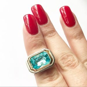 Vintage Faux Aquamarine Silver Tone Cocktail Ring
